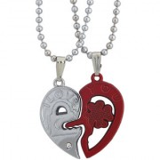 Sukkhi Valentine Lock And Key In Heart Couple 2pcs Pendant With Chain Set For Men