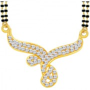 Sikka Jewels Dazzling Gold Plated Australian Diamond Mangalsutra Pendant