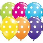 "Baloane latex 5"" inscriptionate Big Polka Dots Asortate, Qualatex 36711"