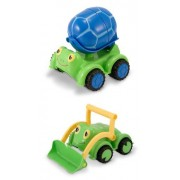 3 Item Bundle: Melissa & Doug 6271 Scootin Turtle Cement Mixer Toy, 6270 Froggy Bulldozer Toy + Coloring Activity Book