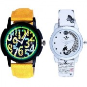 Awesome Exclusive Digits And White Peacock Feathers Couple Casual Analogue Wrist Watch By Taj Avenue