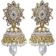 Lucky Jewellery Golden Tone Kundan Stone Pearl Partywear Jhumki