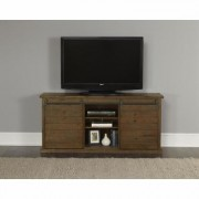 Progressive Furniture Huntington 64 in. Distressed Pine Wood TV Stand Fits TVs Up to 60 in. with Storage Doors