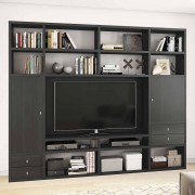 TV Regalwand in Eiche Schwarz Braun 265 cm breit