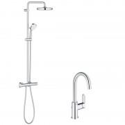 Pachet: Coloana dus Grohe New Tempesta 210-27922001, Baterie lavoar Grohe BauEdge L-23760000