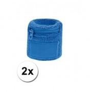 Geen Polsbanden met rits blauw 2 st