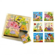 ATOROR ATOROR Wooden Cube Puzzle With Storage Tray-6 Puzzles in 1- SpongeBob SquarePants-3D Toys