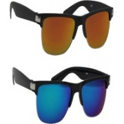 Fashno Clubmaster Sunglasses(Blue, Golden)
