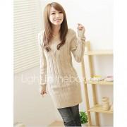 Dames Uitgaan Casual/Dagelijks Eenvoudig Normaal Pullover Effen-V-hals Lange mouw Katoen Acryl Herfst Winter Dik Micro-elastisch