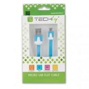 Techly Cavo Flat USB AM a Micro USB M Azzurro 1m
