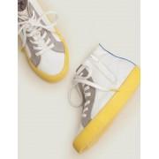 Mini Weiß Hochgeschnittene Leinenschuhe mit Kontrastfarben Jungen Boden, 35, White