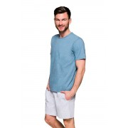 Károly férfi pizsama zsebekkel, kék XL
