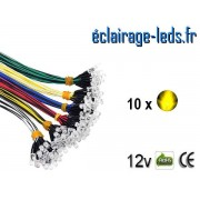 Lot de 10 LEDS jaunes câblées 12v DC ref ld-21