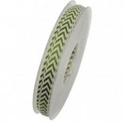 Szalag Zick-Zack textil 10mm x 10m zöld