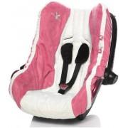 Wallaboo Autostoel zomerhoes - absorberend en sterk katoen - afgewerkt met suède - geschikt voor alle autostoeltjes groep 0 - Roze