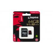 Kingston MicroSDXC 64GB, 100MB/s citire/ 80MB/s scriere, U3, UHS-I, V30, A1 Card + Adaptor SD