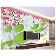 LWCX Papel pintado 3D para pared, diseño de flores, color rosa, 350 x 245 cm.