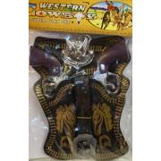 Western Cowboy szett 2db-os Műanyag Pisztoly 21 cm No.858 - Gyerek játék
