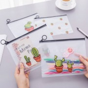 Creative Little Fresh Transparent Scrub Cactus Ring Pocket Pouch Large Capacity Stationery Pencil Bags Office Supplies