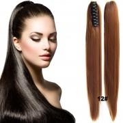 Cop - culík rovný k prodloužení vlasů 60 cm na skřipci (12 (karamelově hnědá)) - Světové Zboží