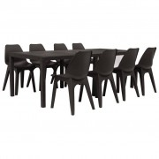 vidaXL Ensemble de salle à manger d'extérieur 9 pcs Plastique Marron