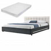 [my.bed] Elegantná manželská posteľ s LED osvetlením - matrac zo studenej HR peny - prešívaná - 140x200cm (Záhlavie: textil krémová / Rám: textil čierna) - s roštom