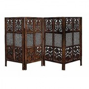 Shilpi Handicrafts Wooden Partition Room Divider in Small Size Leaf Floriferious Design Decor Panel 48X20 Inch (4)