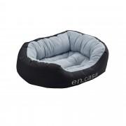 [en.casa]® Fekhely kutyaágy cicaágy M 65 x 50 cm mosható fordítható párnával fekete/szürke