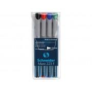 Universal non-permanent marker SCHNEIDER Maxx 223 F, varf 0.7mm, 4 culori/set - (N, R, A, V)