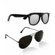 ADEN&terry Wayfarer, Aviator Sunglasses(Black, Silver)
