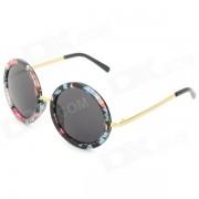 Oulaiou 708 gafas de sol retro de la proteccion de la lente PC UV retro de la PC de las mujeres elegantes - negro + azul