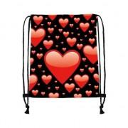 Merkloos Rugtas zwart met rijgkoord met rode hartjes print