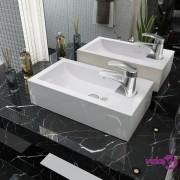 vidaXL Umivaonik s Otvorom za Slavinu Keramički Bijeli 46x25,5x12 cm