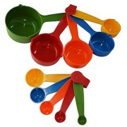 Evershine Combo Baking Measurement Measuring Cups 5 Pieces Spoons 5 Pieces Set Of Each Big Small ( Multicolor )