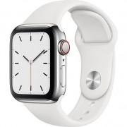 Apple Watch 5, GPS, Cellular, Carcasa Silver Aluminium 44mm, White Sport Band - S/M & M/L