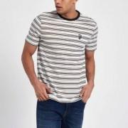 River Island Crème slim-fit gestreept geborduurd T-shirt Heren