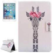Apple Giraffe hoofd tekening patroon horizontale Flip PC + PU lederen draagtas met houder & Card Slots voor iPad mini 4