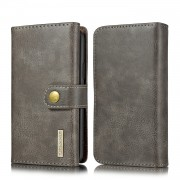DG.MING Split Leather Wallet Style Case with Stand Phone Cover for iPhone 11 Pro Max 6.5 inch - Grey