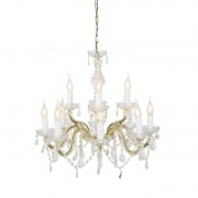 QAZQA Vintage Chandelier Gold 12 S - Arms with Clear Crystal Droplets - Marie Theresa