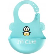 Premium Siliconen Slabbetje - Baby Slabbetje Penguin - Waterdichte Slabber - Baby Schortje - Schort - I'm So Cute - Blauw