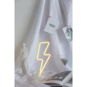 Lampa Decorativa Neon Fulger cu Stand de Inchiriat, Lumina Calda, cu Baterii