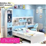 Set mobilier din MDF: pat dulap 5 usi etajera birou si scaun pentru camera copii