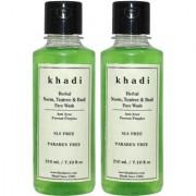 Khadi Herbal Neem Teatree Basil Face Wash SLS-Paraben Free - 210ml (Set of 2)