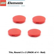 Lego Parts: Tile Round 2 x 2 (PACK of 4 - Red)