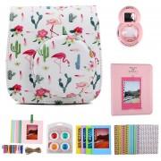 PU Bolso De Cuero Para Cámara Instax Mini 8 8+ 9 - Flamingo & Cactus