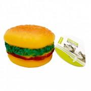 Jucarie chitaitoare pentru caini, din cauciuc, in forma de hamburger