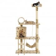 vidaXL Arbre à chat avec griffoir en sisal 140cm Beige Motif de pattes