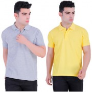 Stars Collection Men's Cotton Polo T- Shirt Comfortable and Stylish T-Shirts with Half Sleeves Grey and Yellow