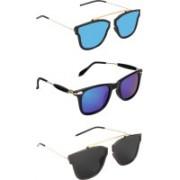 Pogo Fashion Club Wayfarer, Retro Square Sunglasses(Blue, Black, Multicolor)