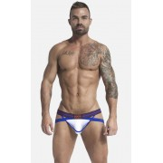 Jack Adams Flex Racer X Fly Moisture Wicking Mesh Fabric Jock Strap Underwear Blue/White 401-132